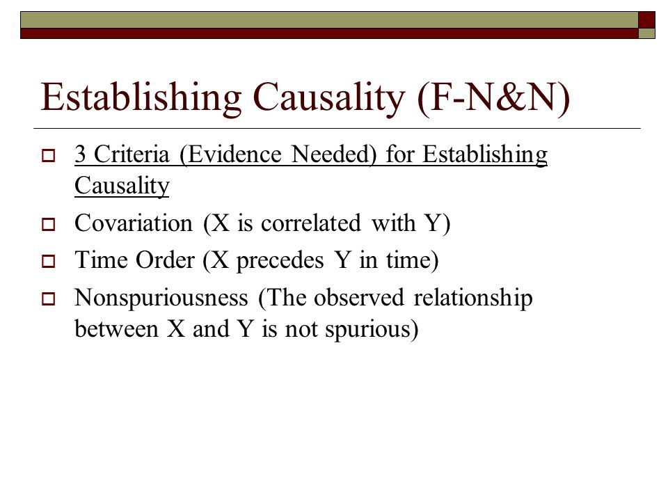 Establishing Causality (F-N&N)  3 Criteria (Evidence Needed) for Establishing Causality  Covariation (X is correlated with Y)  Time Order (X precedes Y in time)  Nonspuriousness (The observed relationship between X and Y is not spurious)