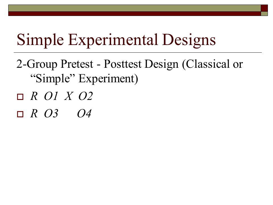 Simple Experimental Designs 2-Group Pretest - Posttest Design (Classical or Simple Experiment)  R O1 X O2  R O3 O4