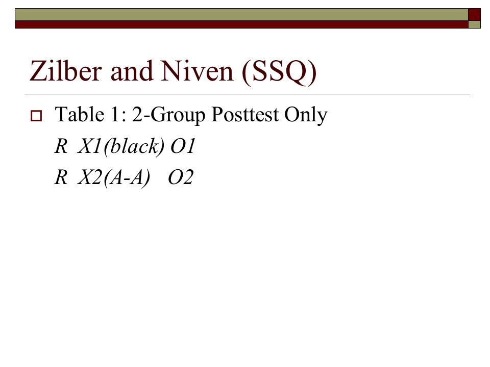 Zilber and Niven (SSQ)  Table 1: 2-Group Posttest Only R X1(black) O1 R X2(A-A) O2