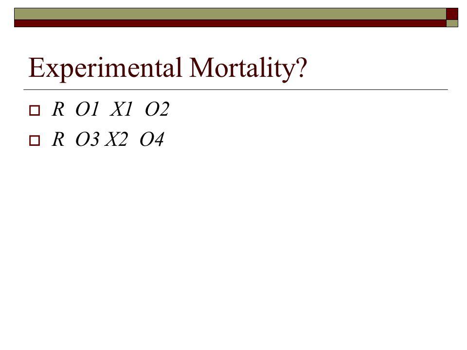 Experimental Mortality  R O1 X1 O2  R O3 X2 O4