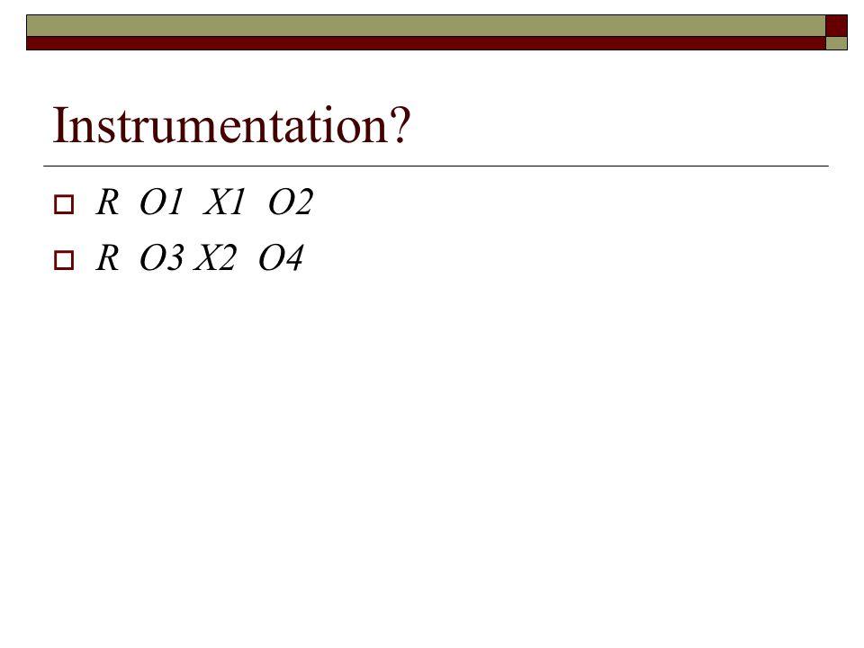 Instrumentation  R O1 X1 O2  R O3 X2 O4