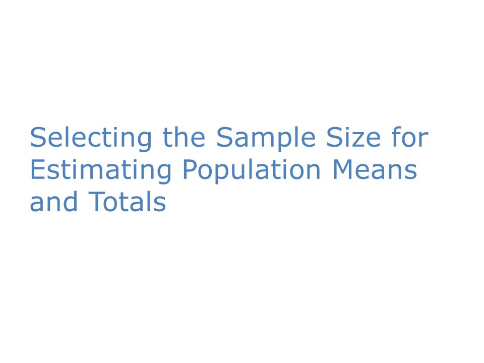 Selecting the Sample Size for Estimating Population Means and Totals