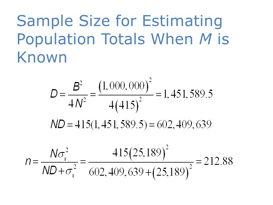 Sample Size for Estimating Population Totals When M is Known