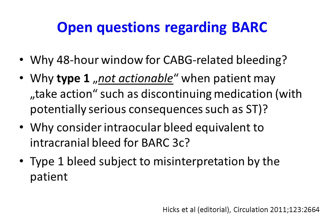 Open questions regarding BARC Why 48-hour window for CABG-related bleeding.