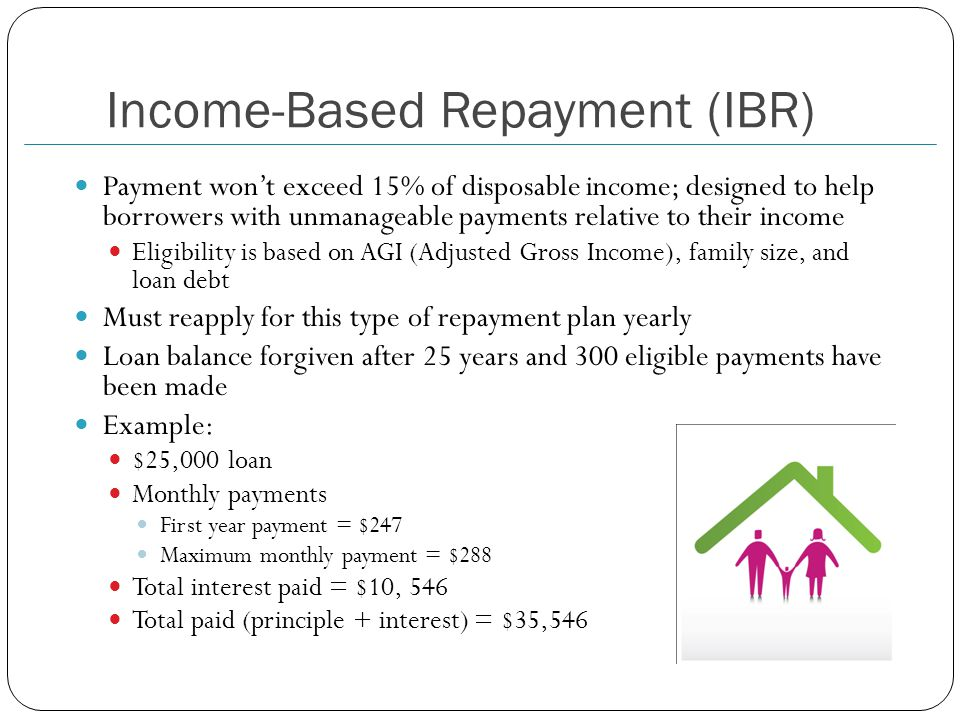 Income-Based Repayment (IBR) Payment won't exceed 15% of disposable income; designed to help borrowers with unmanageable payments relative to their income Eligibility is based on AGI (Adjusted Gross Income), family size, and loan debt Must reapply for this type of repayment plan yearly Loan balance forgiven after 25 years and 300 eligible payments have been made Example: $25,000 loan Monthly payments First year payment = $247 Maximum monthly payment = $288 Total interest paid = $10, 546 Total paid (principle + interest) = $35,546