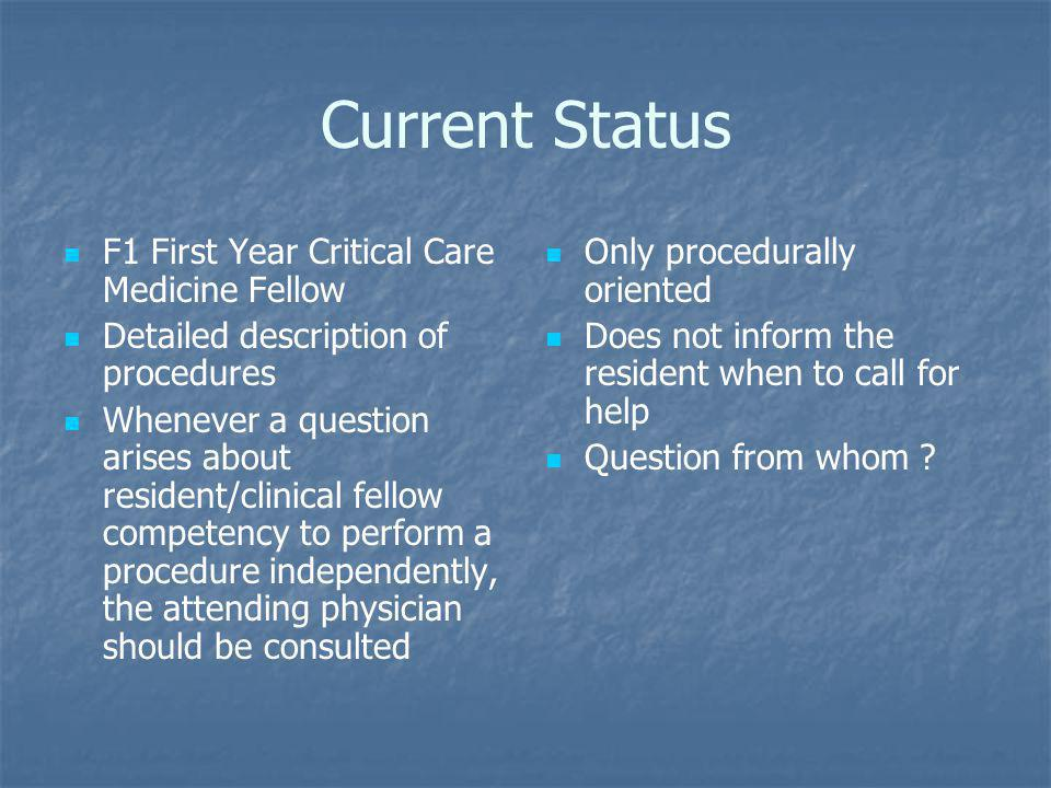 Current Status F1 First Year Critical Care Medicine Fellow Detailed description of procedures Whenever a question arises about resident/clinical fellow competency to perform a procedure independently, the attending physician should be consulted Only procedurally oriented Does not inform the resident when to call for help Question from whom