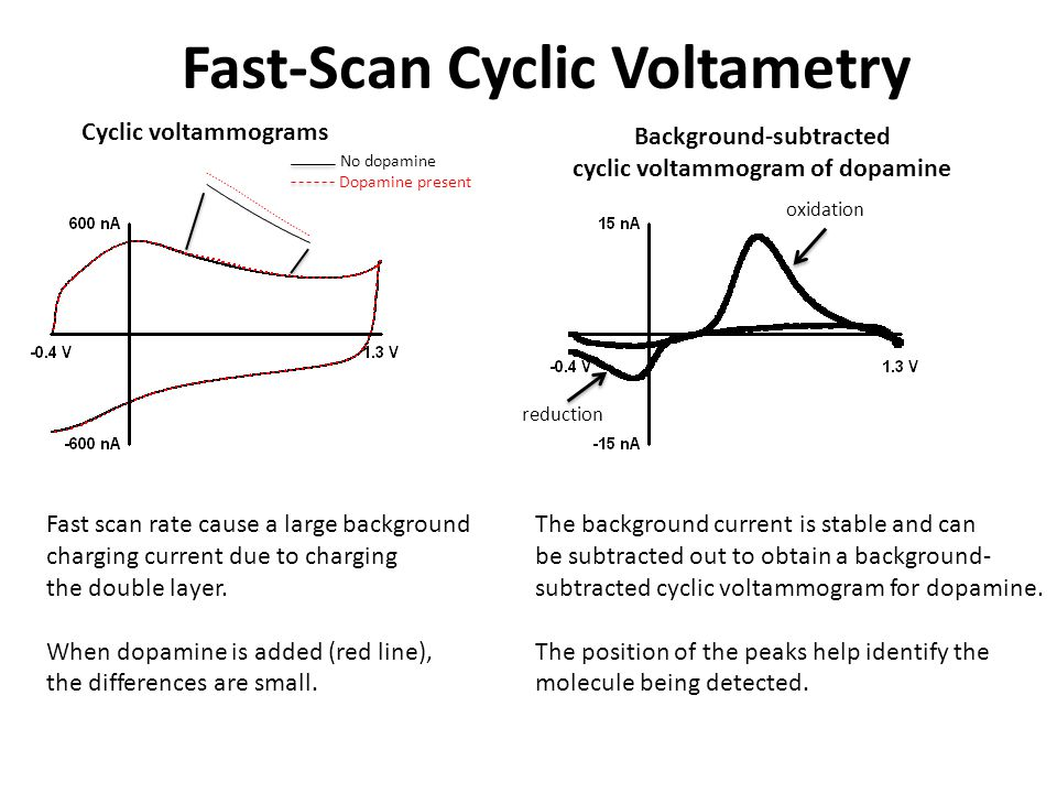 Fast-Scan Cyclic Voltametry Fast scan rate cause a large background charging current due to charging the double layer.