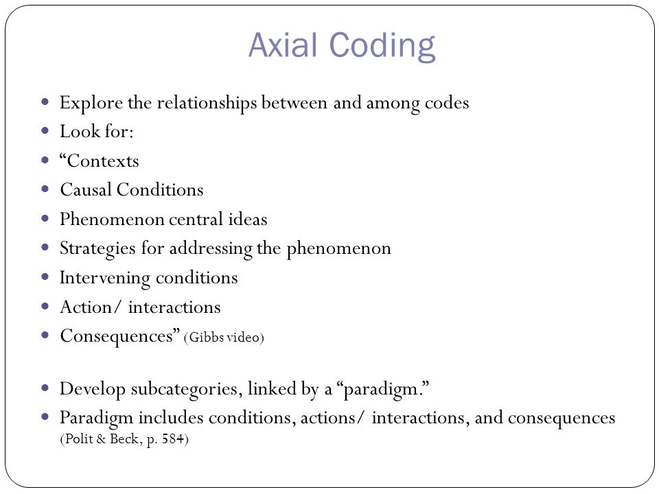 Axial Coding Explore the relationships between and among codes Look for: Contexts Causal Conditions Phenomenon central ideas Strategies for addressing the phenomenon Intervening conditions Action/ interactions Consequences (Gibbs video) Develop subcategories, linked by a paradigm. Paradigm includes conditions, actions/ interactions, and consequences (Polit & Beck, p.