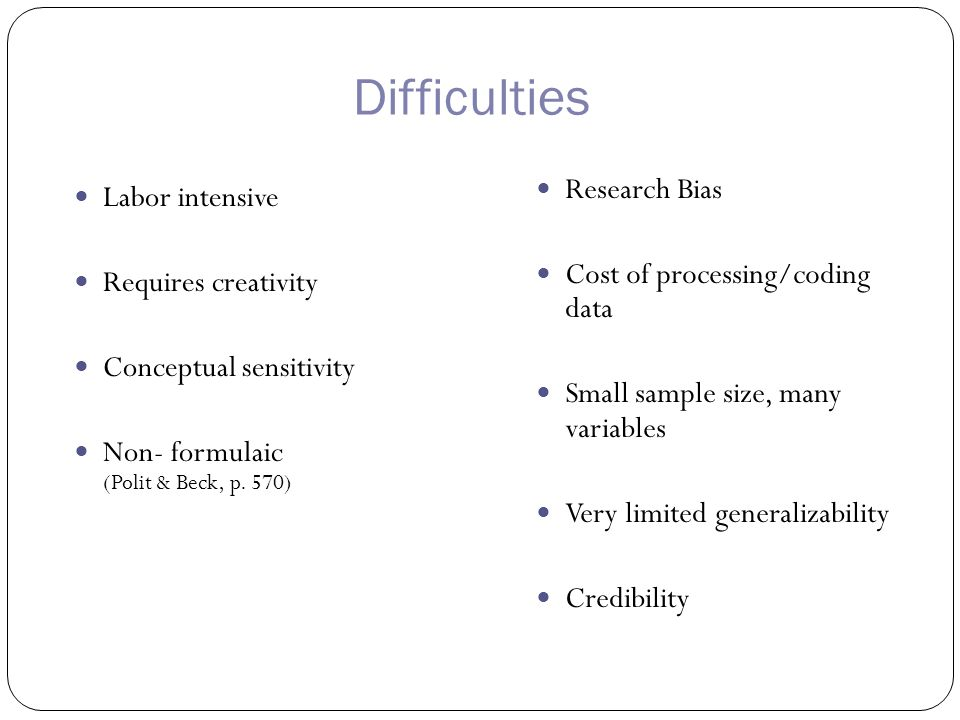 Difficulties Labor intensive Requires creativity Conceptual sensitivity Non- formulaic (Polit & Beck, p.