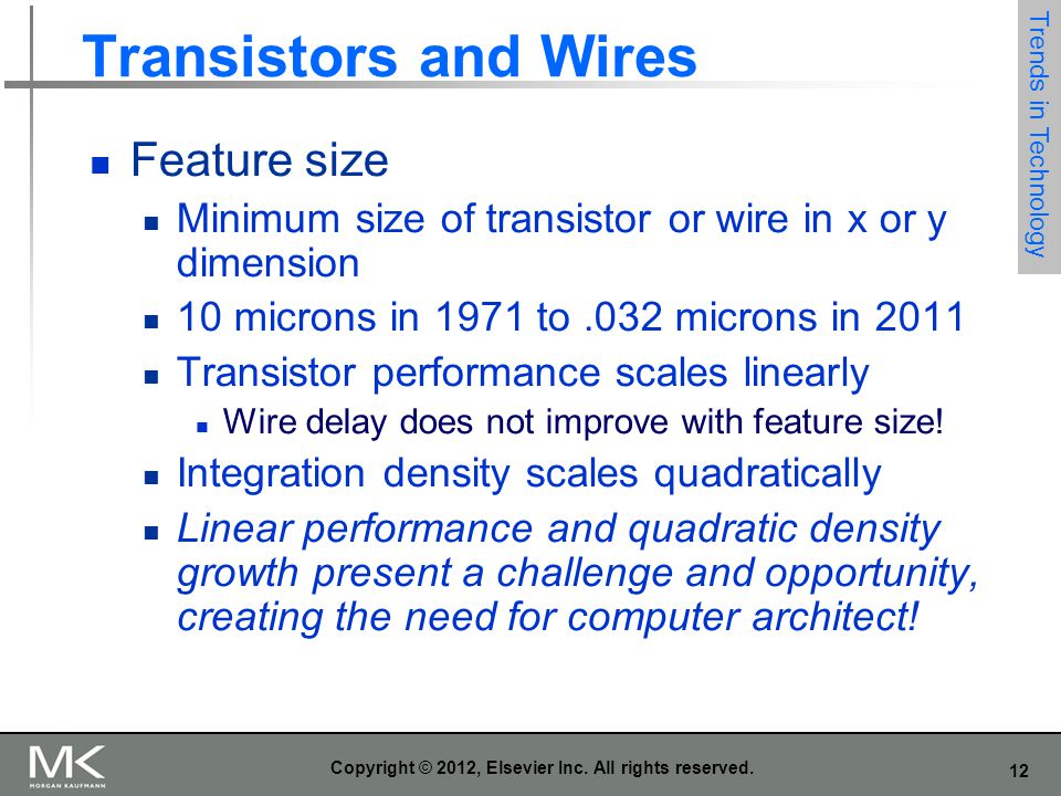 12 Copyright © 2012, Elsevier Inc. All rights reserved. Transistors and Wires Feature size Minimum size of transistor or wire in x or y dimension 10 m