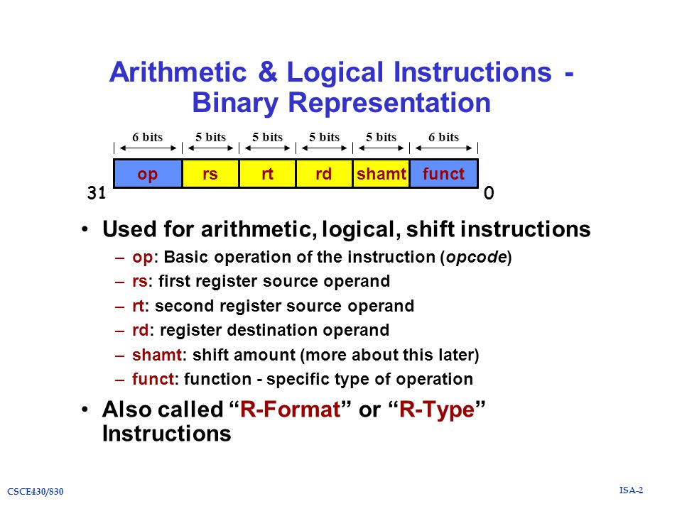 ISA-2 CSCE430/830 Arithmetic & Logical Instructions - Binary Representation Used for arithmetic, logical, shift instructions –op: Basic operation of the instruction (opcode) –rs: first register source operand –rt: second register source operand –rd: register destination operand –shamt: shift amount (more about this later) –funct: function - specific type of operation Also called R-Format or R-Type Instructions oprsrtrdfunctshamt 6 bits5 bits 6 bits 031
