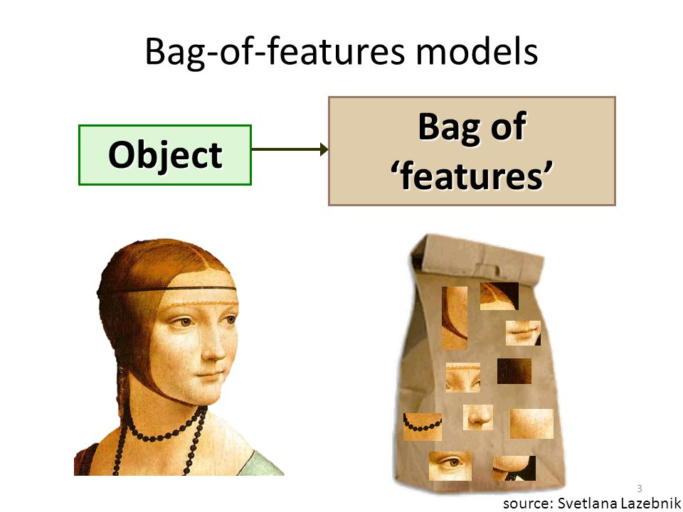 Object Bag of 'features' Bag-of-features models source: Svetlana Lazebnik 3