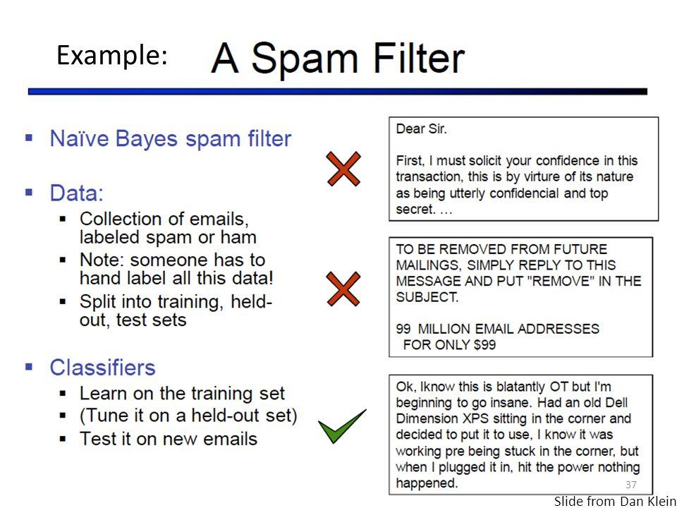 Slide from Dan Klein 37 Example: