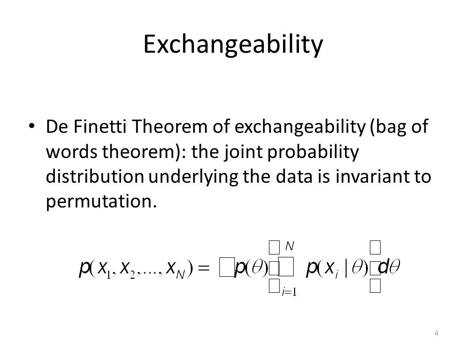 Marginalizing over topics determines the conditional probability: Joint Probability: 65