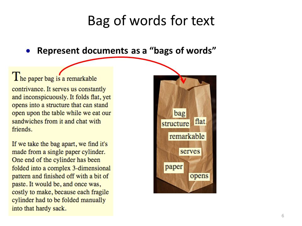 Bag of words for text  Represent documents as a bags of words 6