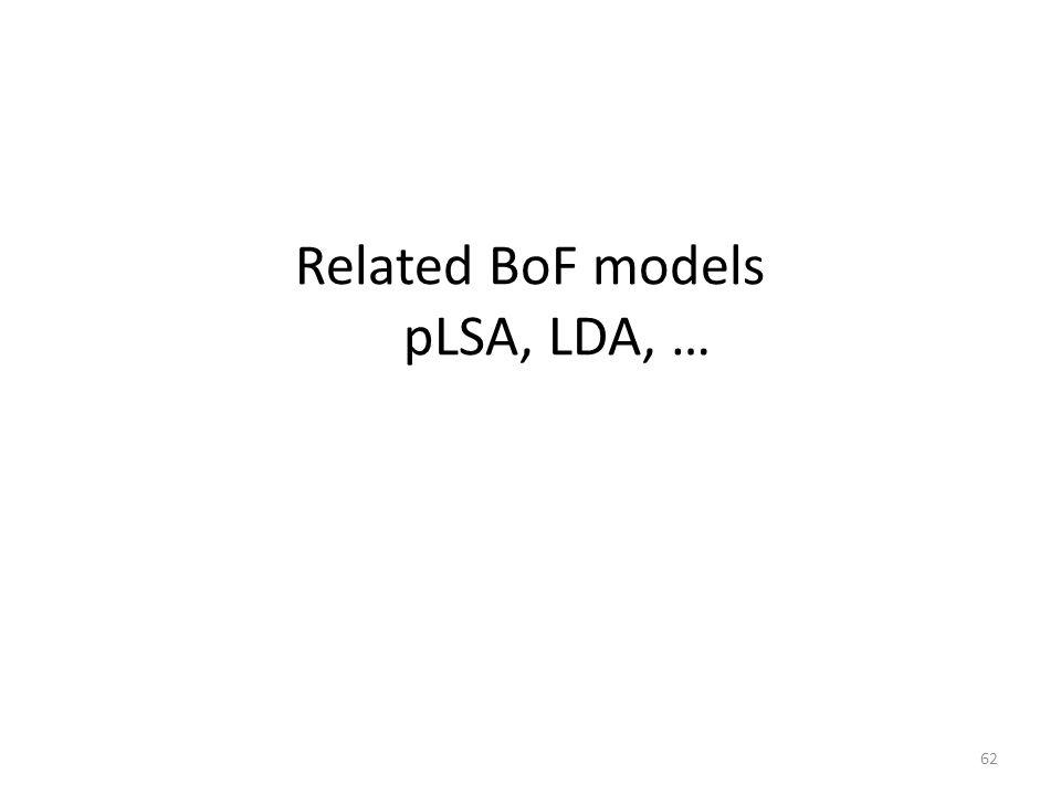 Related BoF models pLSA, LDA, … 62