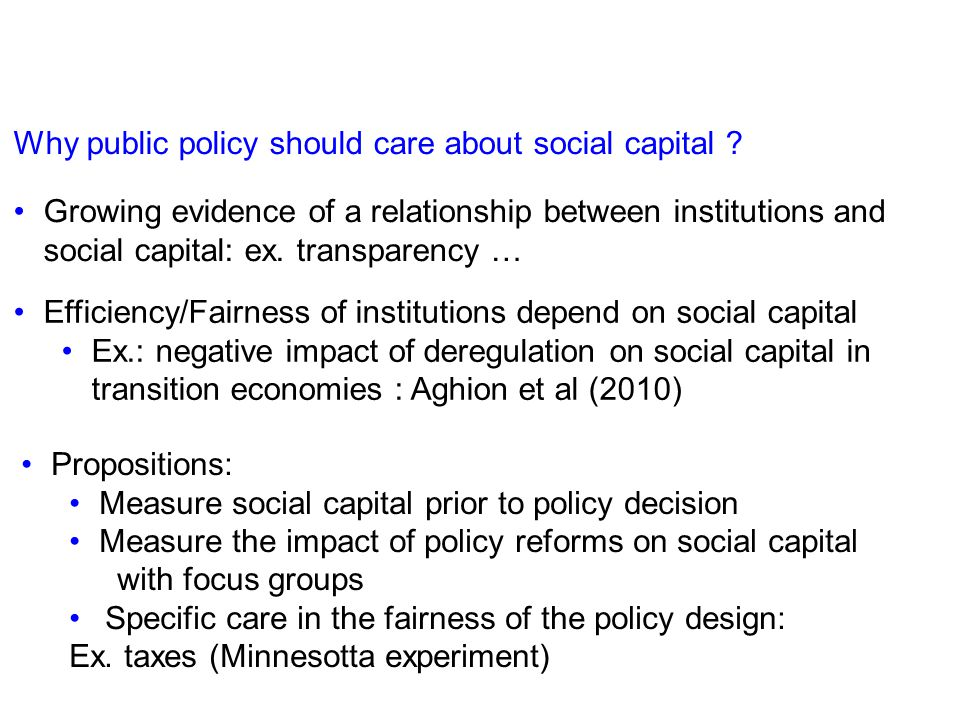 Why public policy should care about social capital .