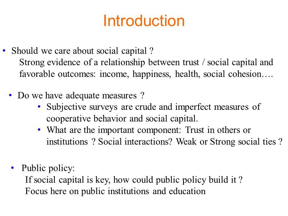 III – CAN PUBLIC POLICY BOOST SOCIAL CAPITAL .