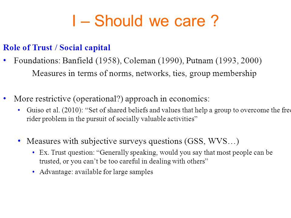 Role of Trust / Social capital Early results on Growth: La Porta et al.