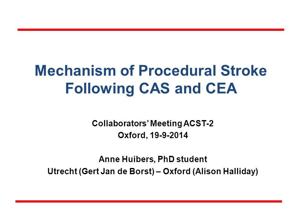 Mechanism of Procedural Stroke Following CAS and CEA Collaborators' Meeting ACST-2 Oxford, 19-9-2014 Anne Huibers, PhD student Utrecht (Gert Jan de Borst) – Oxford (Alison Halliday)