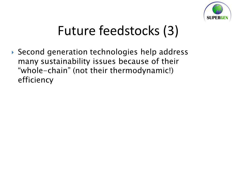  Second generation technologies help address many sustainability issues because of their whole-chain (not their thermodynamic!) efficiency Future feedstocks (3)