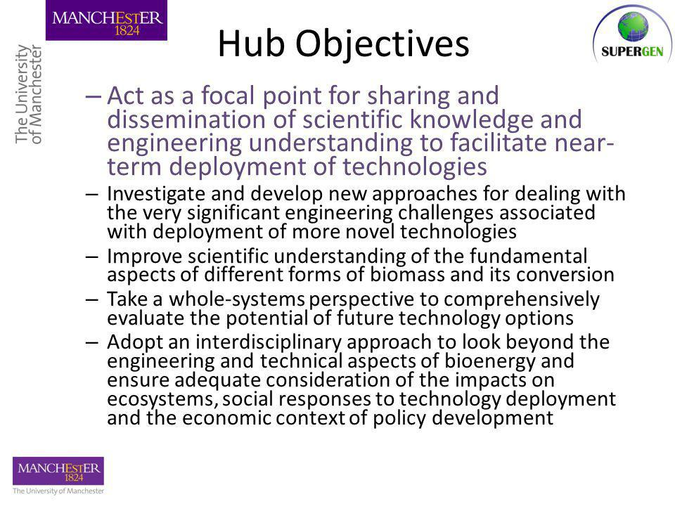Hub Objectives – Act as a focal point for sharing and dissemination of scientific knowledge and engineering understanding to facilitate near- term deployment of technologies – Investigate and develop new approaches for dealing with the very significant engineering challenges associated with deployment of more novel technologies – Improve scientific understanding of the fundamental aspects of different forms of biomass and its conversion – Take a whole-systems perspective to comprehensively evaluate the potential of future technology options – Adopt an interdisciplinary approach to look beyond the engineering and technical aspects of bioenergy and ensure adequate consideration of the impacts on ecosystems, social responses to technology deployment and the economic context of policy development