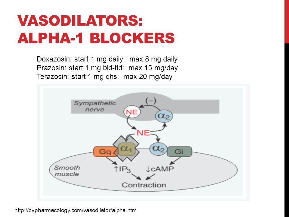 VASODILATORS: ALPHA-1 BLOCKERS http://cvpharmacology.com/vasodilator/alpha.htm Doxazosin: start 1 mg daily: max 8 mg daily Prazosin: start 1 mg bid-ti