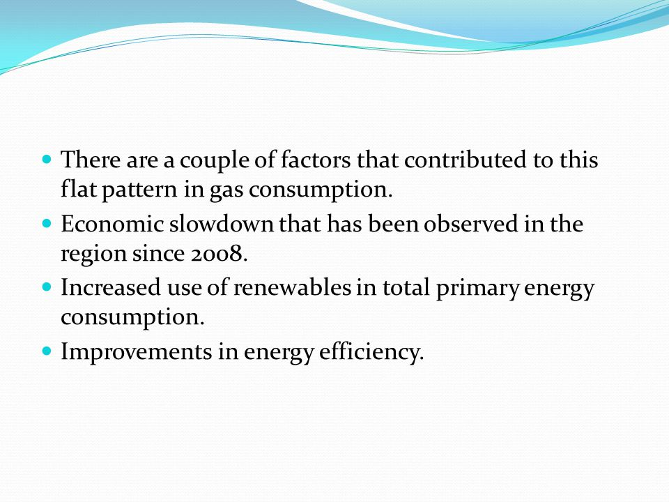 There are a couple of factors that contributed to this flat pattern in gas consumption.