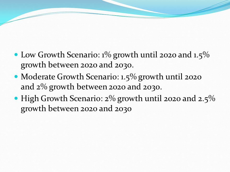 Low Growth Scenario: 1% growth until 2020 and 1.5% growth between 2020 and 2030. Moderate Growth Scenario: 1.5% growth until 2020 and 2% growth betwee