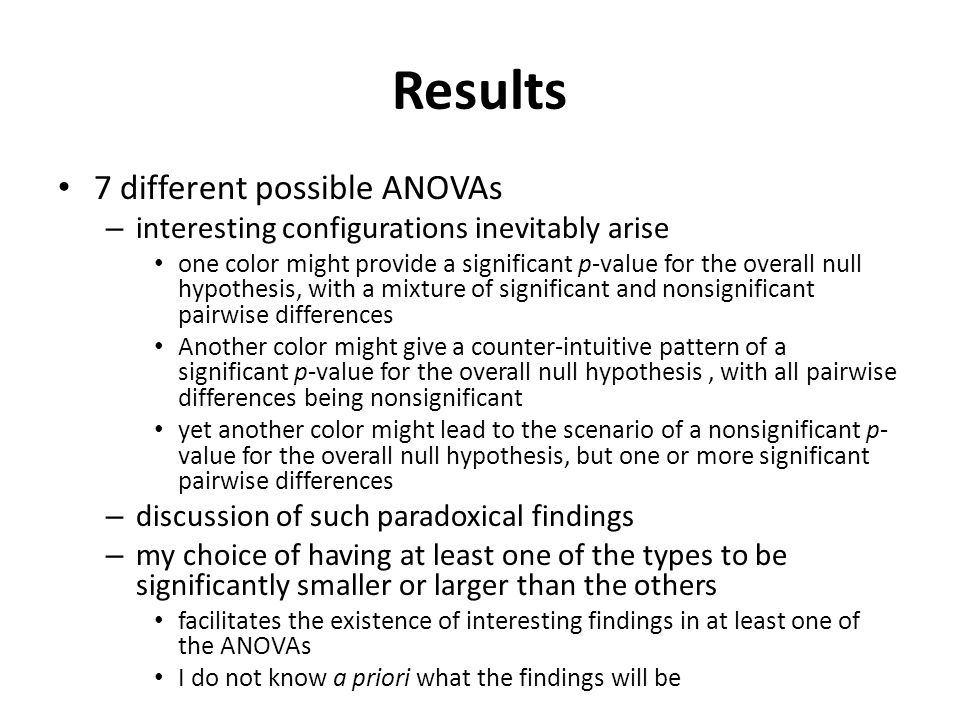 Results 7 different possible ANOVAs – interesting configurations inevitably arise one color might provide a significant p-value for the overall null hypothesis, with a mixture of significant and nonsignificant pairwise differences Another color might give a counter-intuitive pattern of a significant p-value for the overall null hypothesis, with all pairwise differences being nonsignificant yet another color might lead to the scenario of a nonsignificant p- value for the overall null hypothesis, but one or more significant pairwise differences – discussion of such paradoxical findings – my choice of having at least one of the types to be significantly smaller or larger than the others facilitates the existence of interesting findings in at least one of the ANOVAs I do not know a priori what the findings will be