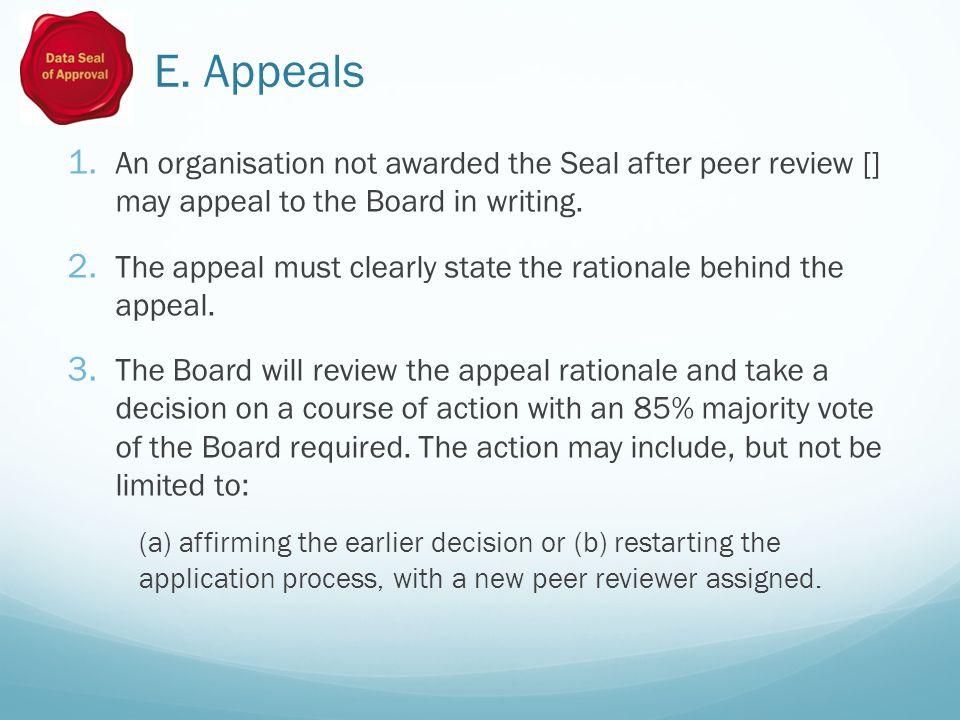 E. Appeals 1.