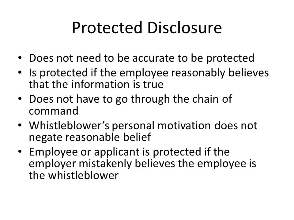Examples of Prohibited Personnel Practice (PPP) Retaliate for any of the following: – Exercising an appeal right of any sort – Testifying or assisting in the above – Cooperating with or disclosing to OIG or OSC – Refusing to obey an order that would require someone to violate the law