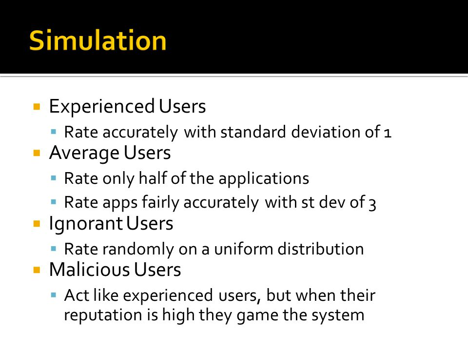  Experienced Users  Rate accurately with standard deviation of 1  Average Users  Rate only half of the applications  Rate apps fairly accurately with st dev of 3  Ignorant Users  Rate randomly on a uniform distribution  Malicious Users  Act like experienced users, but when their reputation is high they game the system