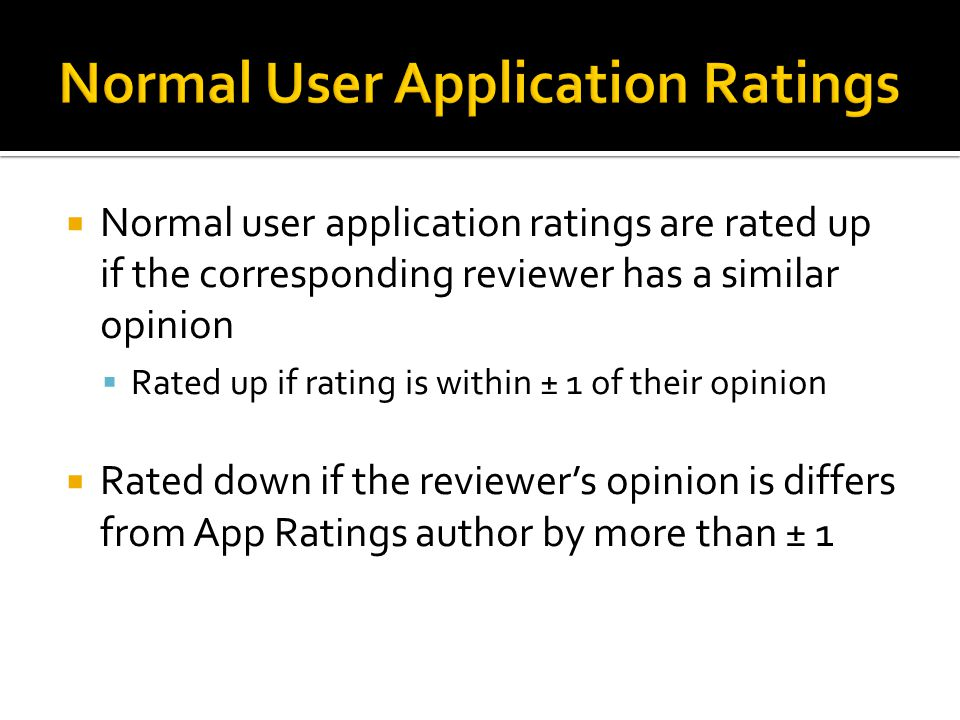  Normal user application ratings are rated up if the corresponding reviewer has a similar opinion  Rated up if rating is within ± 1 of their opinion  Rated down if the reviewer's opinion is differs from App Ratings author by more than ± 1