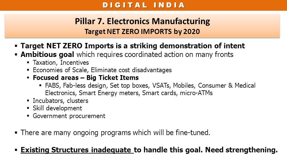 D I G I T A L I N D I A Pillar 7. Electronics Manufacturing Target NET ZERO IMPORTS by 2020 Pillar 7. Electronics Manufacturing Target NET ZERO IMPORT