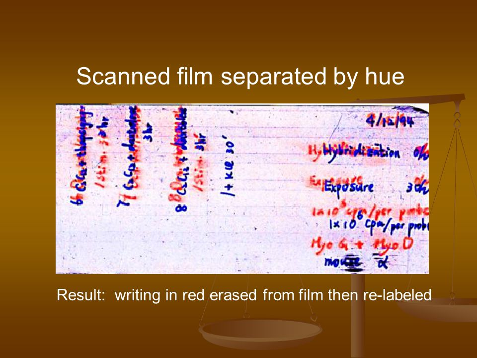 Scanned film separated by hue Result: writing in red erased from film then re-labeled