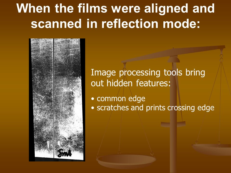 When the films were aligned and scanned in reflection mode: Image processing tools bring out hidden features: common edge scratches and prints crossin