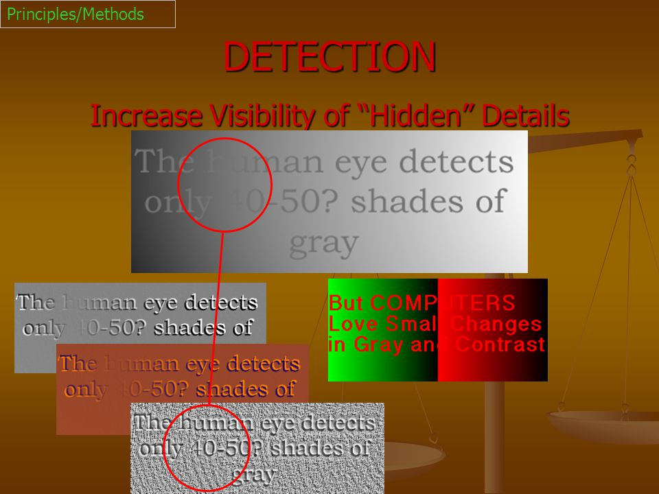 "DETECTION Increase Visibility of ""Hidden"" Details Principles/Methods"
