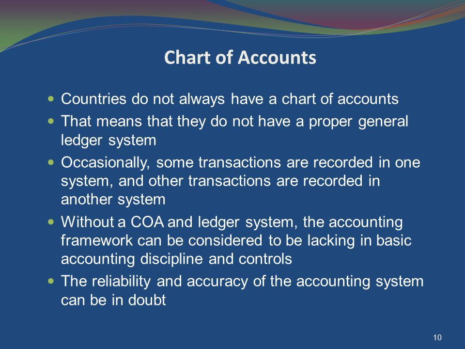 10 Chart of Accounts Countries do not always have a chart of accounts That means that they do not have a proper general ledger system Occasionally, so
