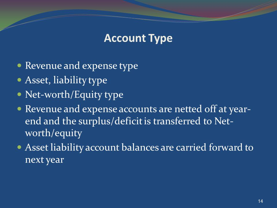 Account Type Revenue and expense type Asset, liability type Net-worth/Equity type Revenue and expense accounts are netted off at year- end and the sur