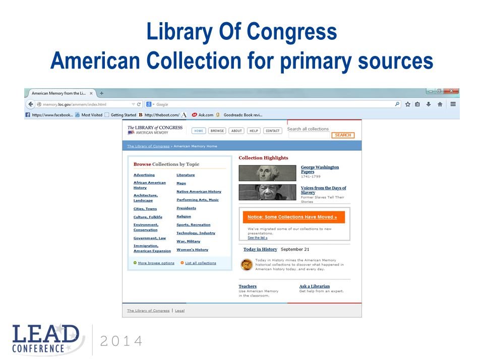 Library Of Congress American Collection for primary sources