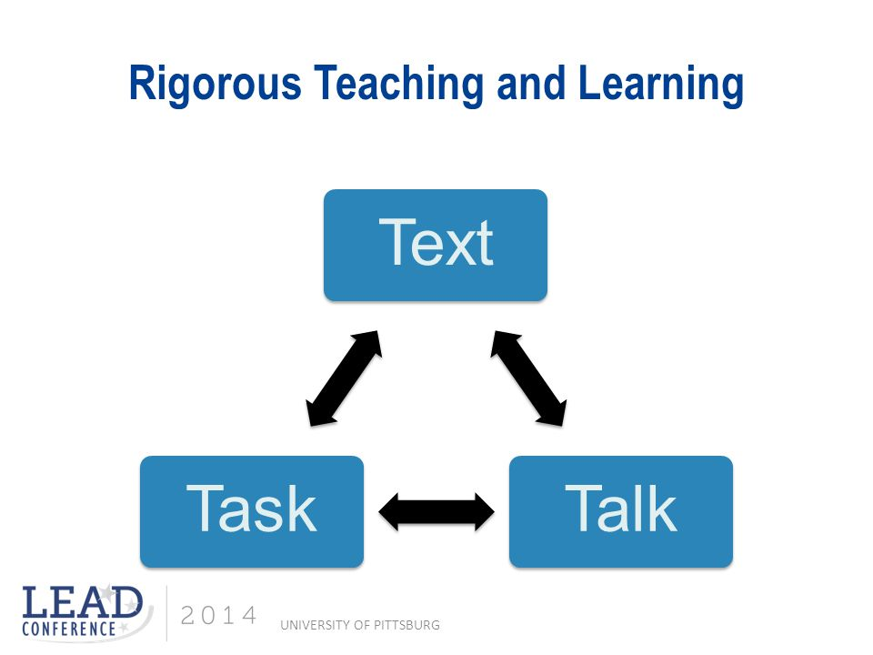 Rigorous Teaching and Learning TextTalkTask UNIVERSITY OF PITTSBURG