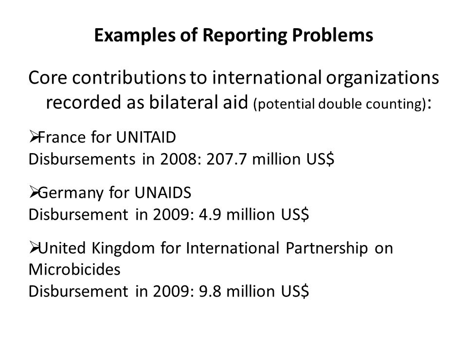 Examples of Reporting Problems Core contributions to international organizations recorded as bilateral aid (potential double counting) :  France for