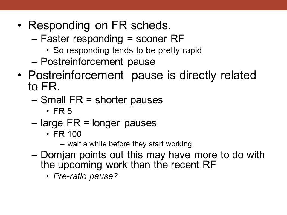 Responding on FR scheds. –Faster responding = sooner RF So responding tends to be pretty rapid –Postreinforcement pause Postreinforcement pause is dir