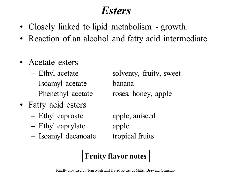 Esters Closely linked to lipid metabolism - growth. Reaction of an alcohol and fatty acid intermediate Acetate esters –Ethyl acetatesolventy, fruity,