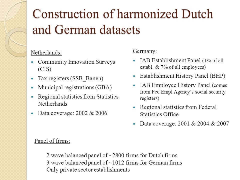 Construction of harmonized Dutch and German datasets Netherlands: Community Innovation Surveys (CIS) Tax registers (SSB_Banen) Municipal registrations (GBA) Regional statistics from Statistics Netherlands Data coverage: 2002 & 2006 Germany: IAB Establishment Panel (1% of all establ.