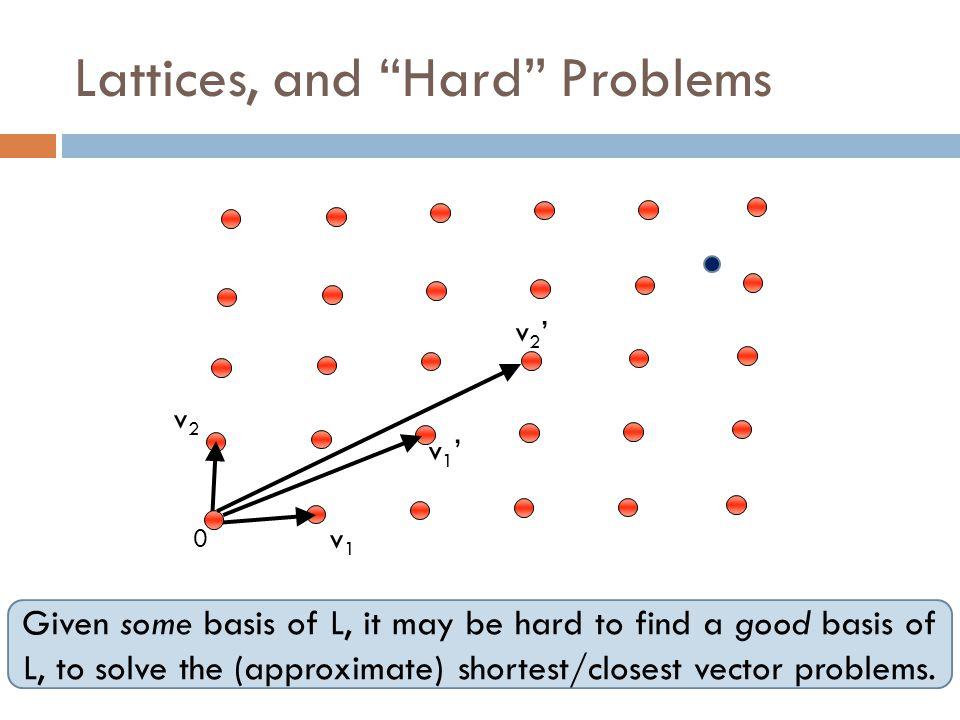 Lattices, and Hard Problems 0 v2'v2' v1'v1' v1v1 v2v2 Given some basis of L, it may be hard to find a good basis of L, to solve the (approximate) shortest/closest vector problems.