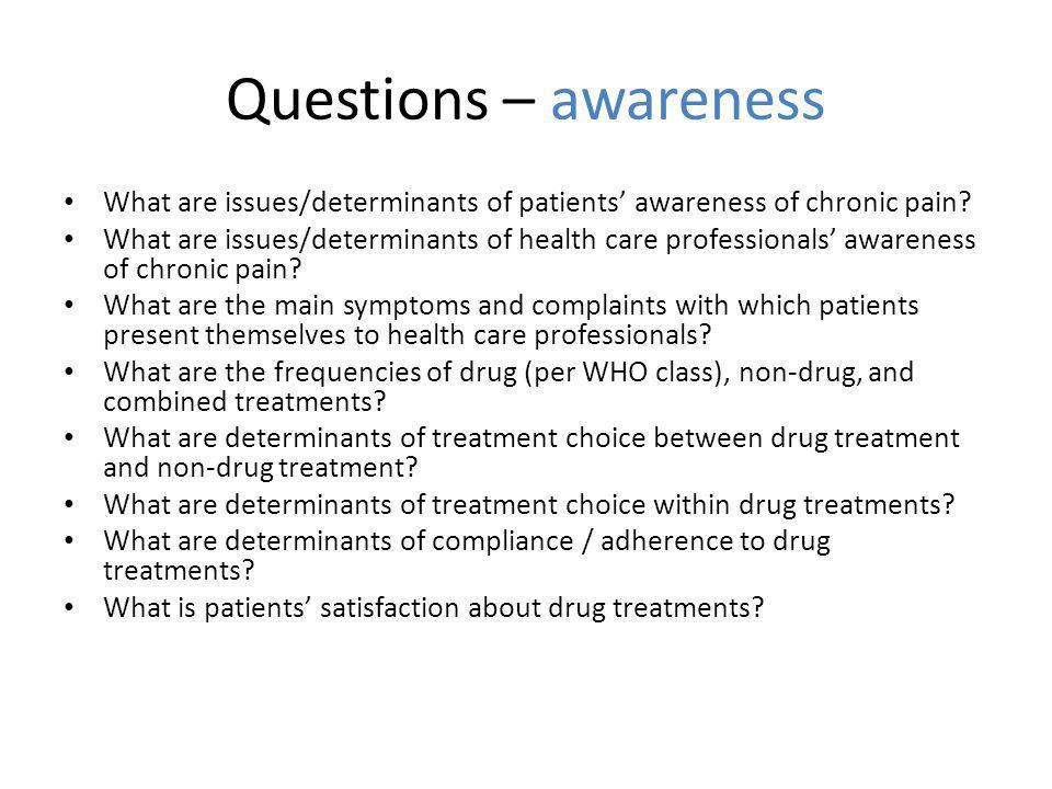 Questions – awareness What are issues/determinants of patients' awareness of chronic pain.