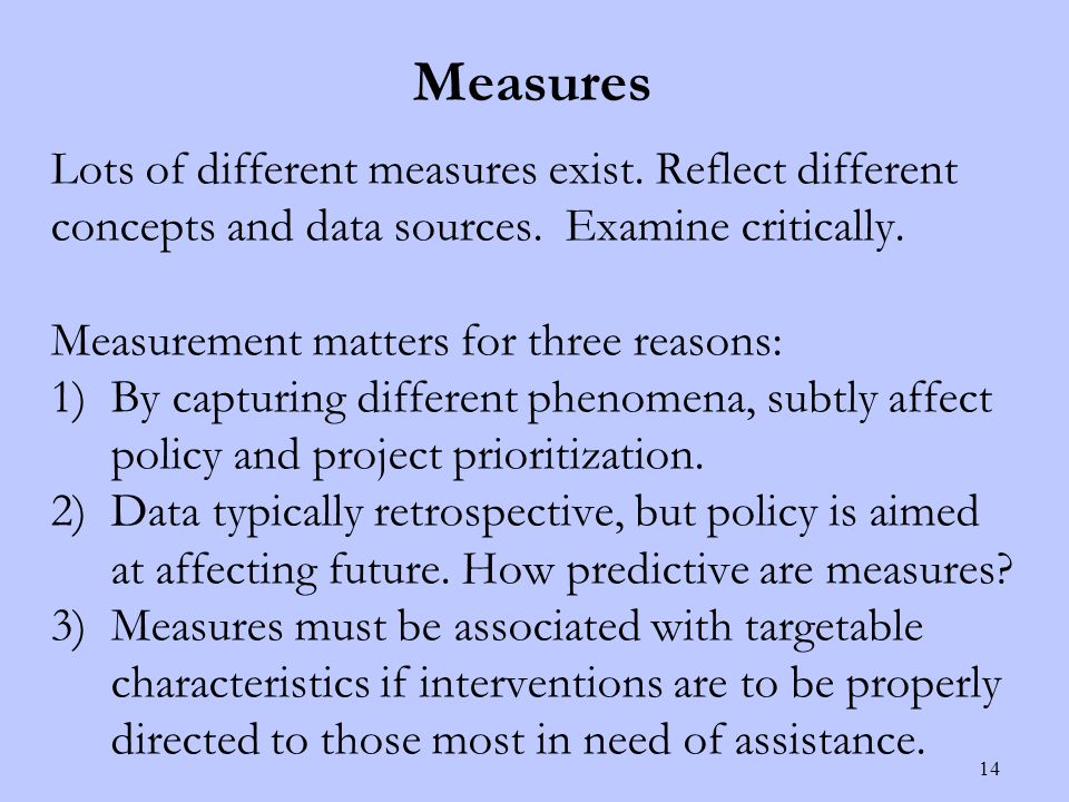 Measures Lots of different measures exist. Reflect different concepts and data sources.