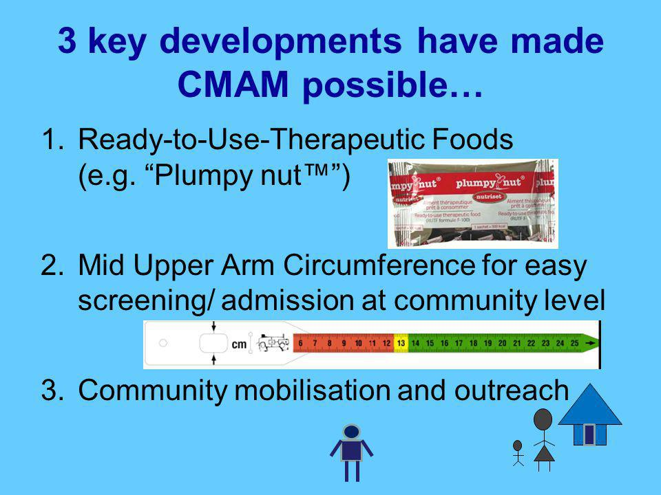 "3 key developments have made CMAM possible… 1.Ready-to-Use-Therapeutic Foods (e.g. ""Plumpy nut™"") 2.Mid Upper Arm Circumference for easy screening/ ad"